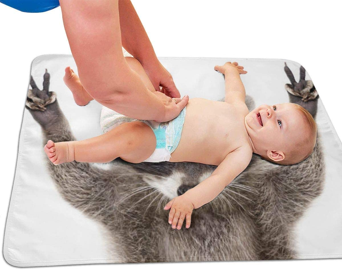 Washable -Compact Travel Mat for Infants and Toddlers,Unisex Boy Girl 25.5x31.5 Wipeable Waterproof Portrait Of A Funny Raccoon Portable Diaper Changing Pad