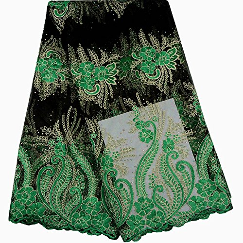 KENLACE 5 Yards/Lot Latest African lace African Cord Lace With Rhinestones,Green Nigerian Guipure Lace Fabrics For Women (Green) by KENLACE