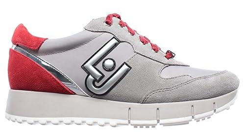 e48c2cbbd782b Scarpe Donna Sneakers Liu Jo Gigi 02 Running Cow Suede Nylon Grey Red Nuove  New  Amazon.it  Scarpe e borse