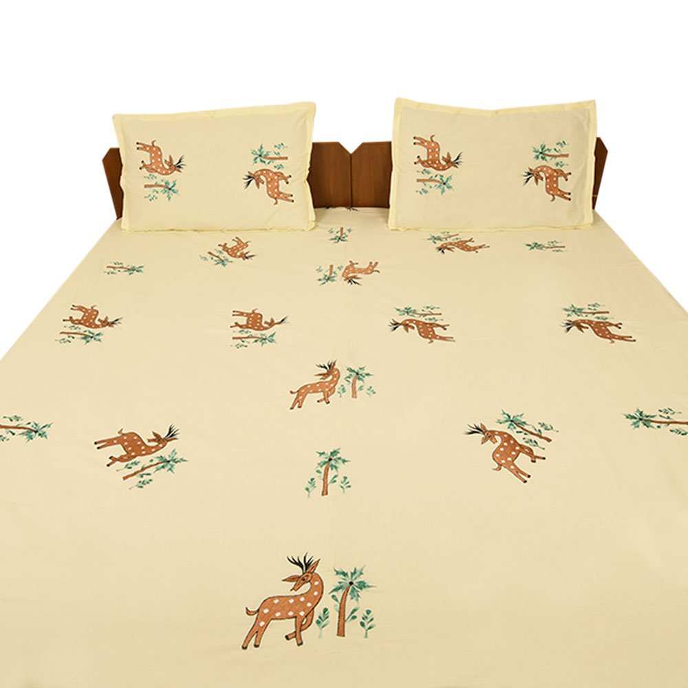 IndianShelf Handmade Bed Linen Decorative Deer Embroidery Pattern Bedsheet Bedcover