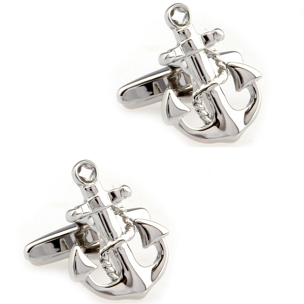 CIFIDET Silver Anchor With Chains Cuff Links Fashion Men Shirt Cufflinks With Gift Box TZG Cuff Links