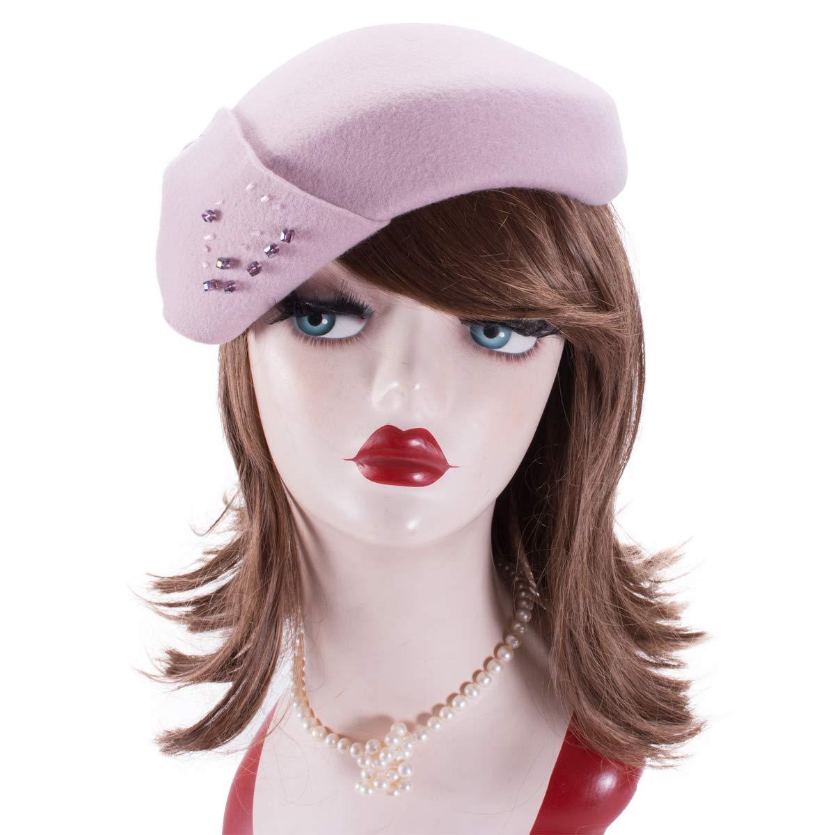Lawliet Womens 1940s Wool Felt Tam Casque Beret Fascinator Hat A556