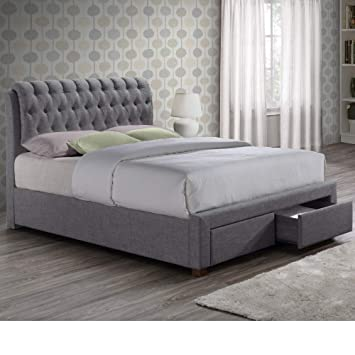 6d9a9abb42ca Chesterfield Fabric Sleigh Bed, Happy Beds Valentino Grey Modern 2 Drawer Storage  Bed Frame - 5ft UK King (150 x 200 cm) Frame Only: Amazon.co.uk: Kitchen &  ...