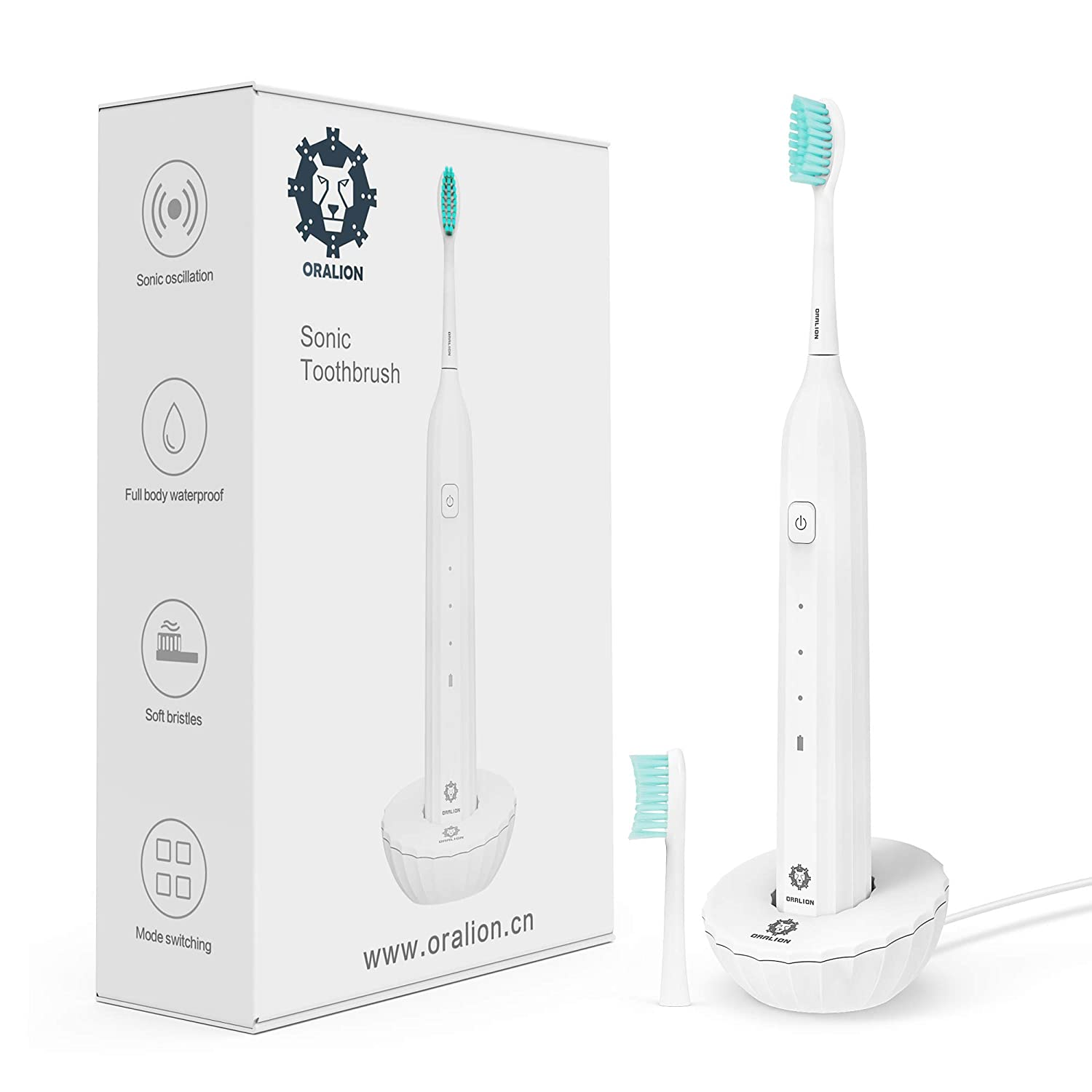 Electric Sonic Toothbrush Clean for Adults, USB Rechargeable Powered Toothbrush Built-in Smart Timer, 3 Deep Cleaning Modes, 2 Replacement Brush Heads, IPX7 Waterproof, Dentists Recommend, White