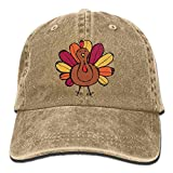 Taijian Cute Thanksgiving Turkey Adult Denim Dad Solid Baseball Cap Hat Natural