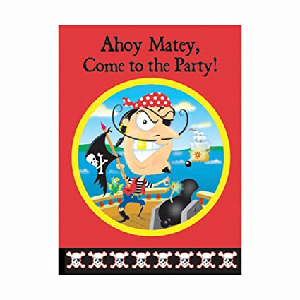 amazon com gold tooth pirate invitations 8ct kitchen dining