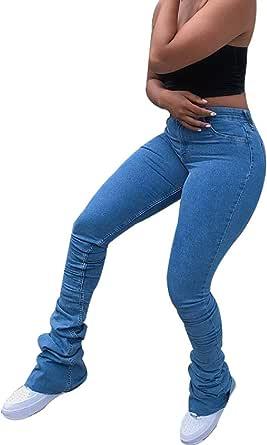 DressUWomen Elasticity Empire Waist Bandage Bodycon Weekend Vogue Demin Pants