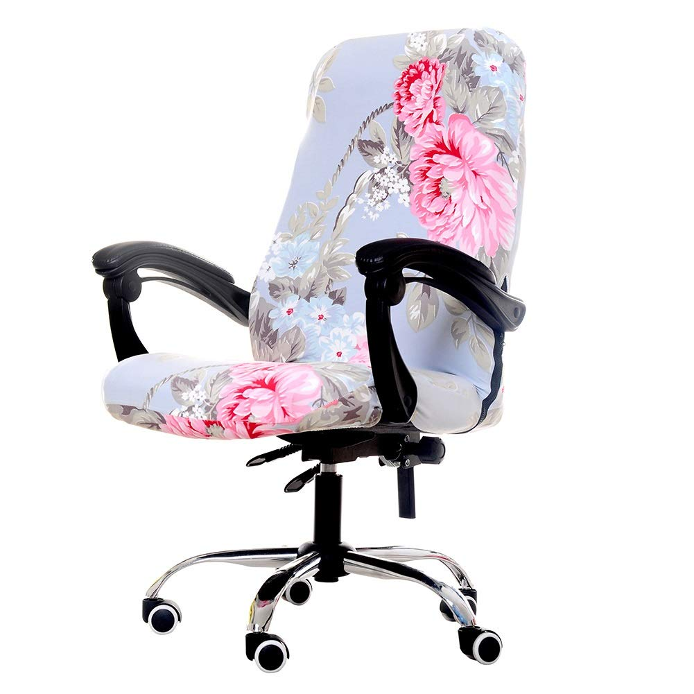 jannyshop Removable Stretch Fabric Flowers Cushion Resilient Seat Protector Chair Slipcovers Office Chair Cover