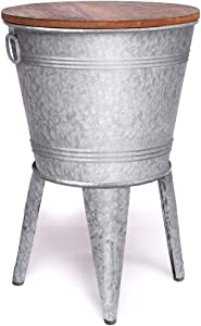 Farmhouse Accent Side Table - Galvanized Rustic End Table. Metal Storage Bin Wood Cover. Coffee or Cocktail Table - Farmhouse