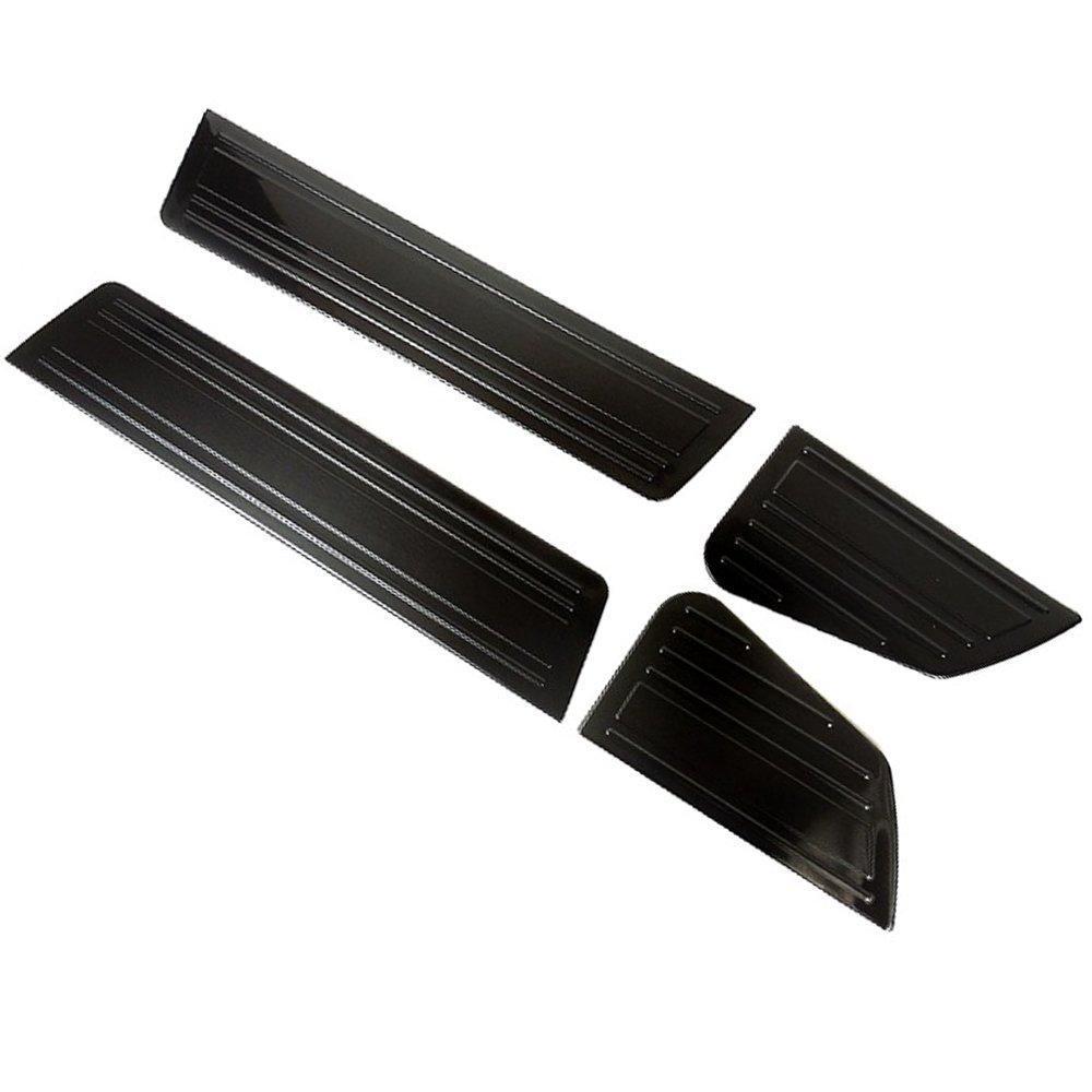 スズキ エブリィワゴン DA17W サイド スカッフプレート ステップガード キッキングプレート ステップ カバー 4P ブラック ステンレス B076Y1BCLM