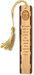 product image for Personalized Friends Leave Footprints in Your Heart Quote, Engraved Wooden Bookmark with Tassel - Search B0124I2DZA for Non-Personalized Version