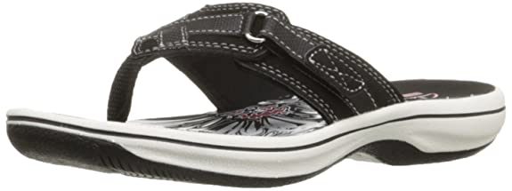 Clarks Women's Breeze Sea Flip Flop,Black,5 M US