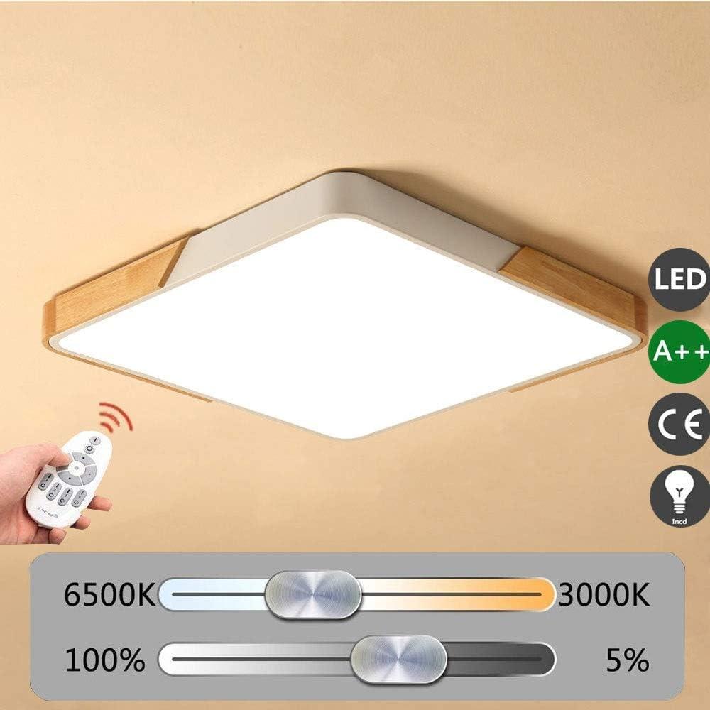 Tama/ño : 30 * 30cm Clase de eficiencia energ/ética A++ Cuadrado Minimalismo LED L/ámpara de Techo 16W De Madera Plaf/ón Ultra Delgado Acr/ílico N/órdico Luces de Techo para Dormitorio Comedor Estudio