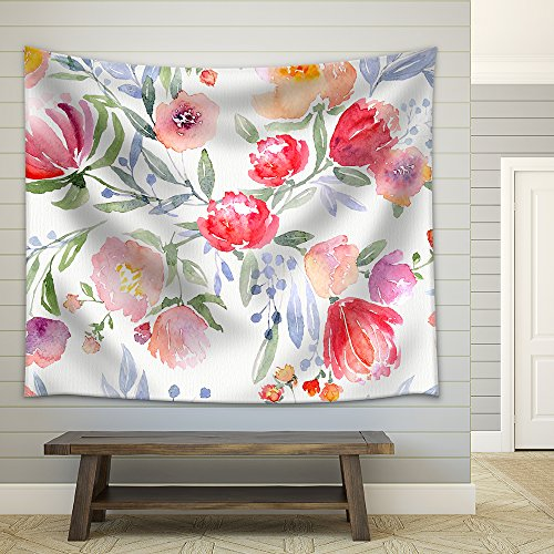 Illustration Watercolor Floral Botanical Pattern and Seamless Background Fabric Wall