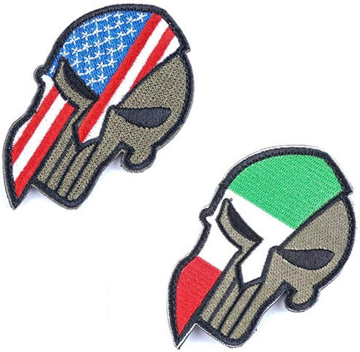 Aisoway Personalit/à Bandiera Applique Casco Skull Zone del ricamo Badge fai da te per le forniture di abbigliamento della decorazione