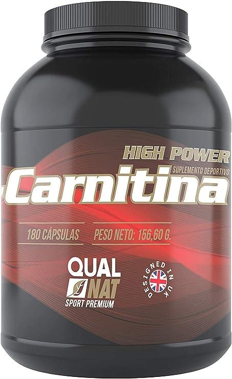 L-Carnitina Pura | Mejora la Musculatura | Suplemento deportivo | 180 Cápsulas- Qualnat