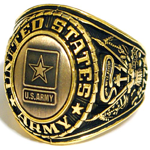 US Army Insignia Ring - Bronze Colored Army Veteran Ring - Military Collectibles