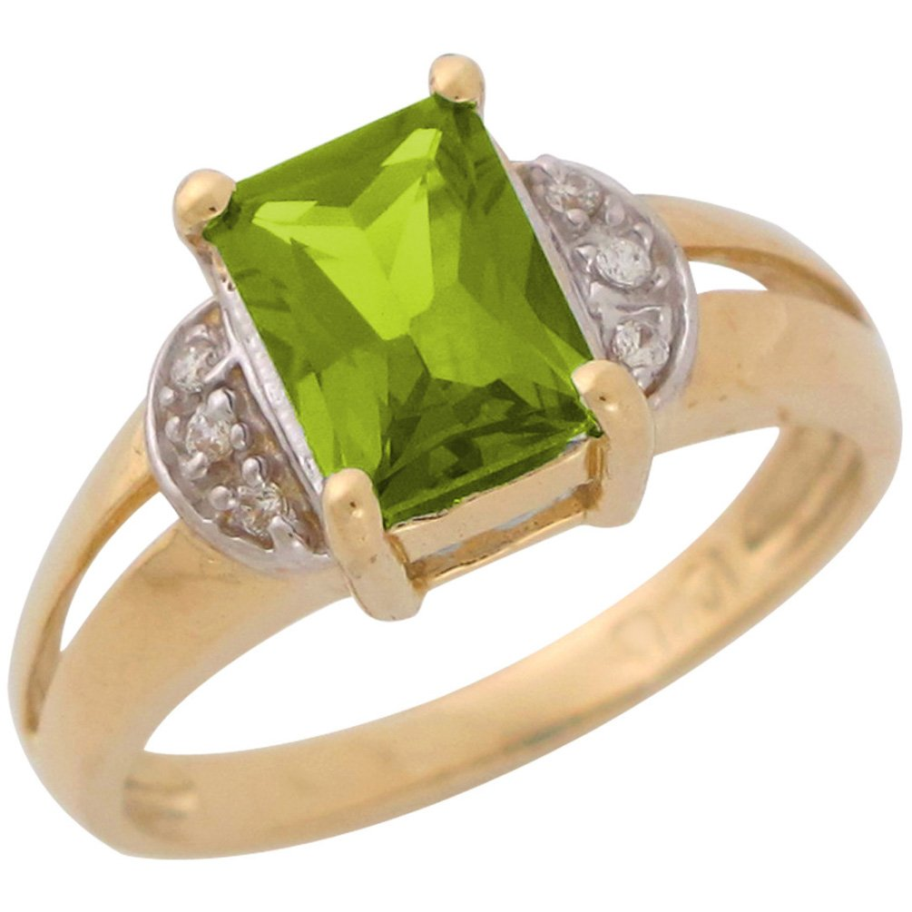 14k Two-Tone Ladies Simulated Peridot and CZ Split Shank August Birthstone Ring
