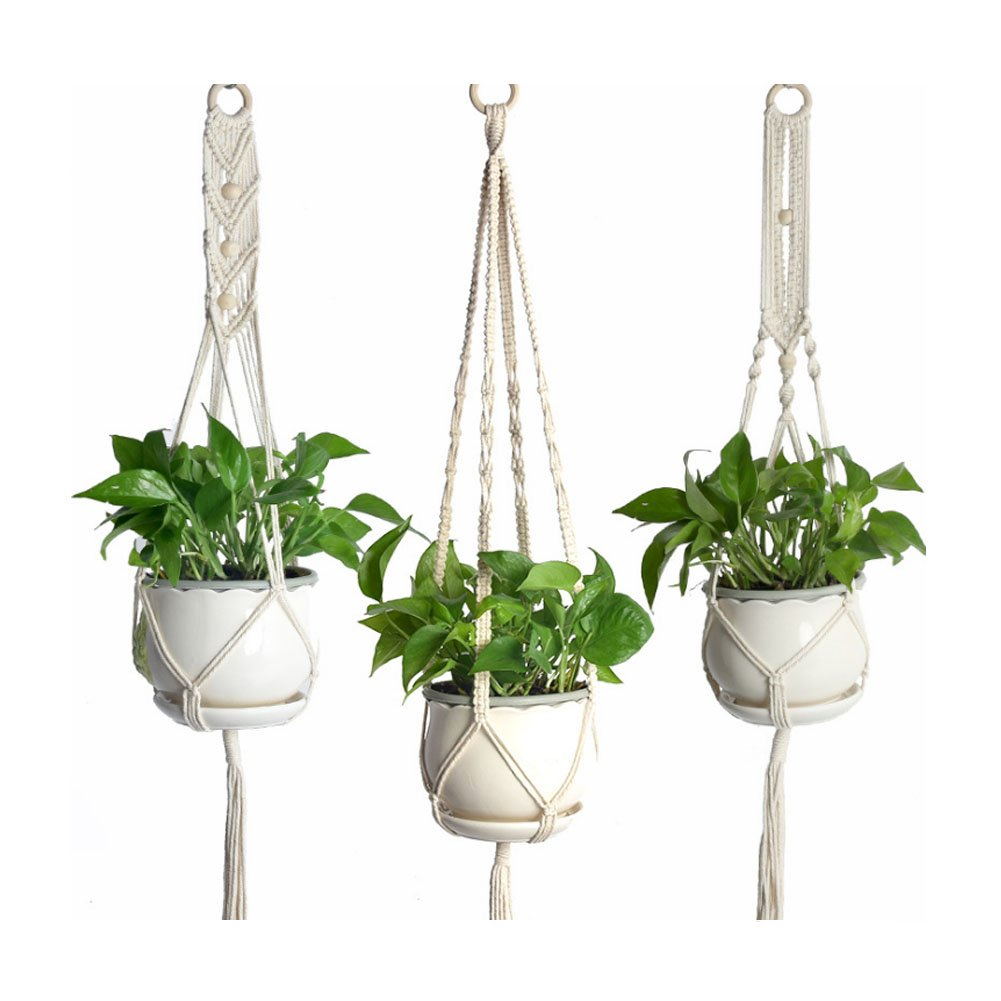 OuTera Macrame Plant Hanger Indoor Outdoor Home Decor Cotton Rope with Beads,41.3inch(Chain,Beads,3 Pack)