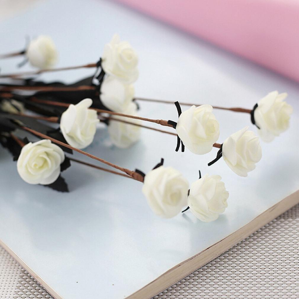 ホームデコレーション、人工フェイクRosesフランネル牡丹ローズリーフフラワーブライダルブーケ+クリエイティブ水耕栽培植物透明花瓶木製フレームセット 5 Pcs MBN-987856 B07FY55J7Q Pe Mini Rose Mw09902 Pure White 5 Pcs