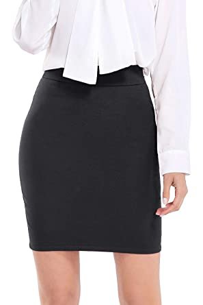 "857c9151fd AUQCO Women Business Bodycon Mini Pencil Skirt Above The Knee 19"" ..."