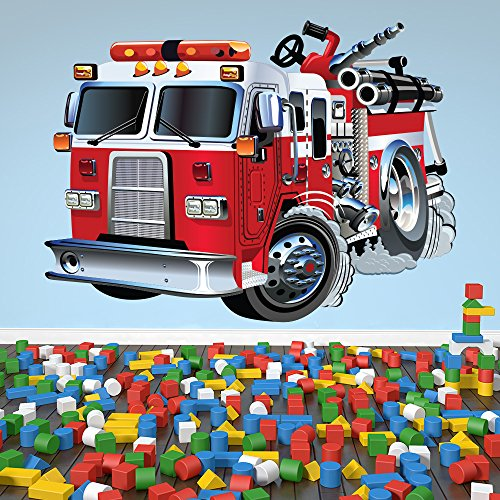 Red Fire Engine Cartoon Kids color Wall Sticker Transport Art