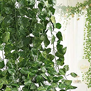 Artificial Ivy Leaf Plants Vine, 12 Strands 87 Feet Artificial Garlands Fake Foliage Flowers Hanging Vine for Home Kitchen Garden Office Wedding Party Wall Decor 40