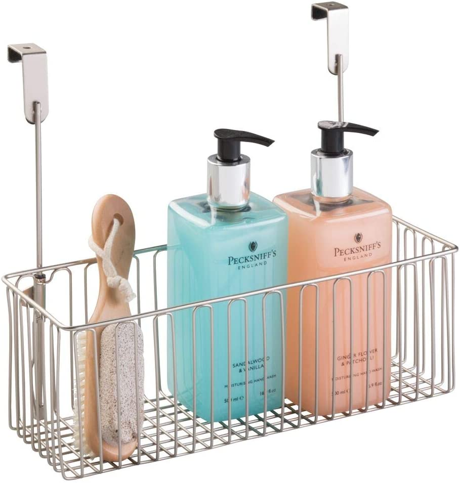 mDesign Metal Over Cabinet Bathroom Storage Organizer Holder or Basket - Hang Over Cabinet Doors - Holds Shampoo, Conditioner, Body Wash - Strong Steel Wire...