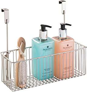 mDesign Metal Over Cabinet Bathroom Storage Organizer Holder or Basket - Hang Over Cabinet Doors - Holds Shampoo, Conditioner, Body Wash - Strong Steel Wire - Satin