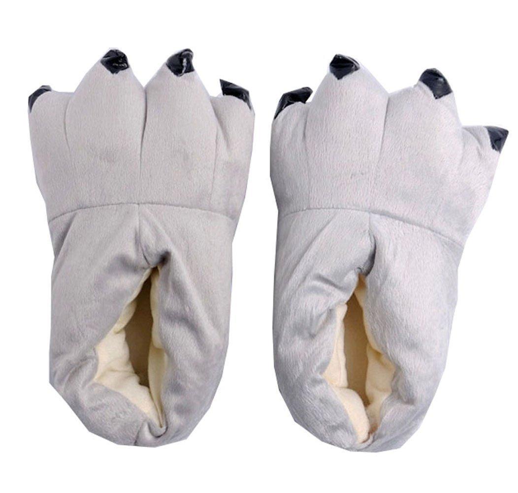 MILEEO Unisex Herbst Winter Tierhausschuhe Plüsch Hausschuhe Pantoffeln Kostüme Warme Puschen  Medium Grau