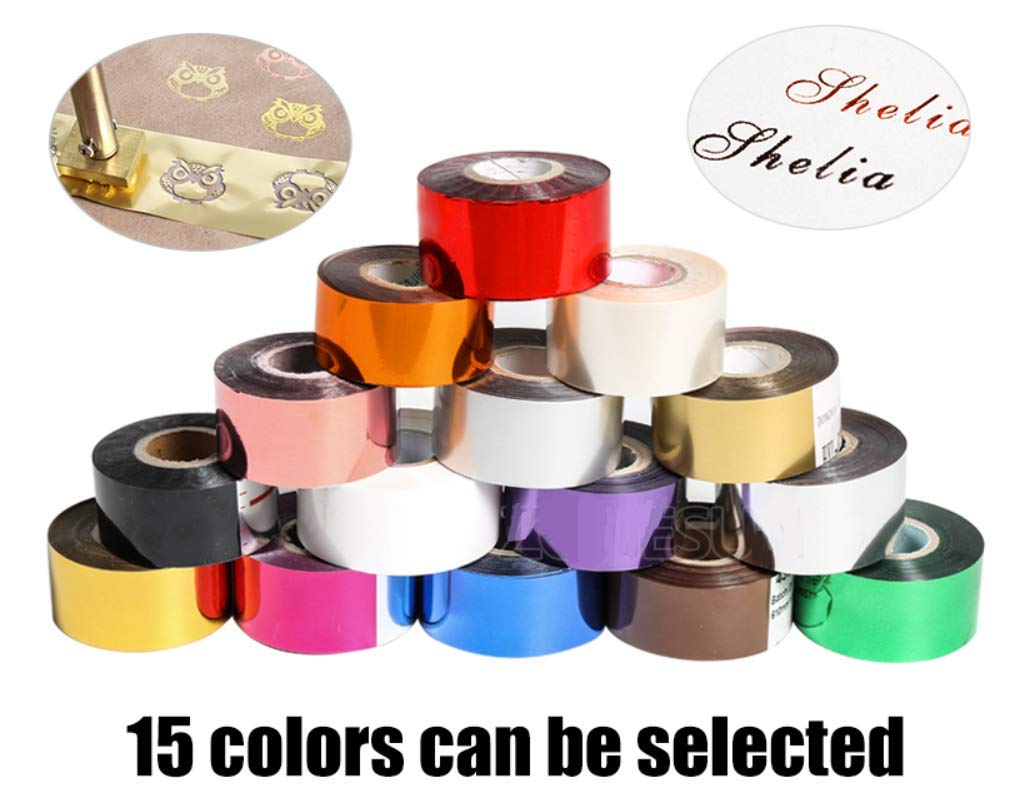 KUNHEWUHUA 5cm x 120m Hot Foil Stamping Paper 2 Rolls Heat Transfer Anodized Gilded Paper 15 Colors Optional by KUNHEWUHUA