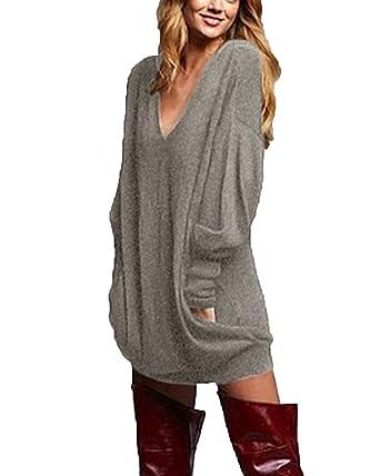 d3dd8feb5a6 Zanzea Femme Casual Cavalier Sexy Col V Manches Longues Hauts Lâche Shirt Robe  Longue Blouse (