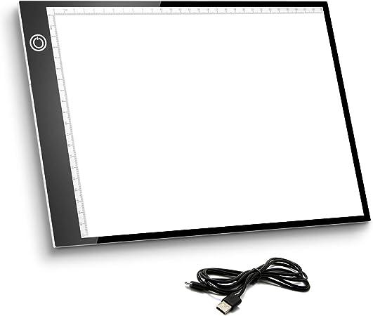 Mesa de Luz A4, Caja de Luz Portátil con USB, Control Táctil Stepless ajustado,Dibujo Portátil Almohadilla de Luz para Dibujo de Copia, Animación, Bocetos, Stencilling, etc.: Amazon.es: Hogar
