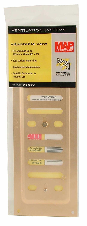 Gold 9 x 3 MAP Hardware 943-33 Metal Adjustable Vents
