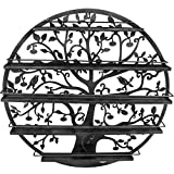 Sorbus Wall Mounted 5 Tier Nail Polish Rack Holder - Tree Silhouette Round Metal Salon Wall Art Display (Black)