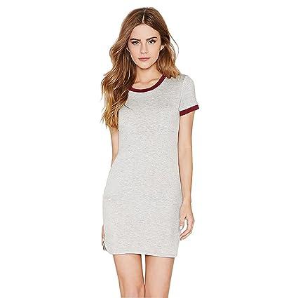 528e848e8dd Elaco Casual Summer Women Dress Short Sleeve Round Neck Slim Fit Bodycon T  Shirt Dress (