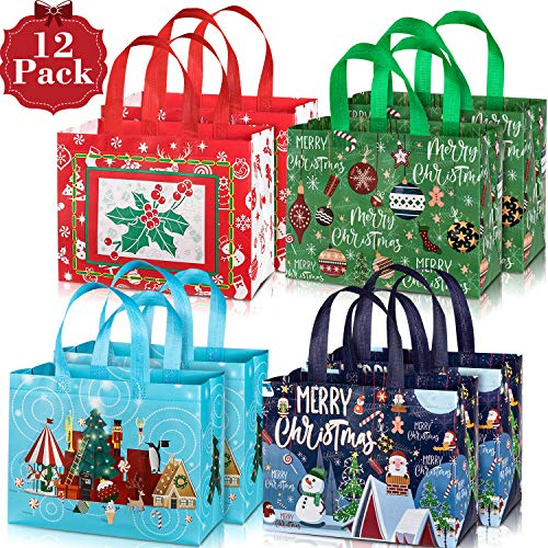 Whaline 12 Pack Large Christmas Tote Bags with Handles, Reusable Gift Bag Grocery Shopping Totes for Holiday Xmas (Reusable Shopping Christmas Bags)