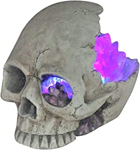 """Lightahead Halloween 8"""" Scary Skull with Lighted Crystal and Creepy Light-Up Eye for Halloween Decoration Party Home Decor"""