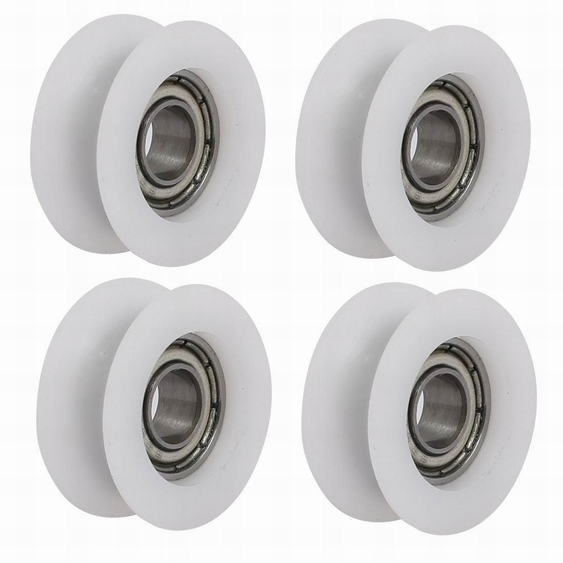 fuxell 6 mmx20mmx8.5 mm U Groove rodamientos Polea Rueda para puerta corredera de cristal blanco 4 piezas: Amazon.es: Amazon.es