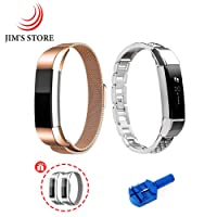 Fitbit Alta/Alta HR Strap Band, JIM'S STORE Stainless Milanese Replacement Magnet Wristband & Metal Jewelry Bangle with Rhinestones (Rose gold + Sliver)