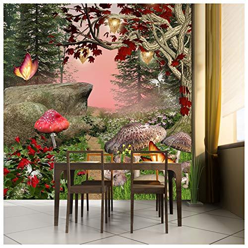 Zauberwald Fototapete Rote Schmetterlingsbäume Tapete Mädchen Wohnkultur