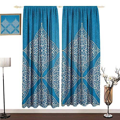 Custom Curtain Traditional House Decor Eastern Old Fashion Arabesque Kaleidoscope Paisley Moroccan Heraldic W108 xL108 Breathability