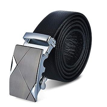 dda4b3a52a145 Cinturón de cuero de los hombres Hebilla corrediza automática de cuero para  hombres Regalo formal para