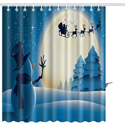 Christmas Shower Curtains Printed Polyester Waterproof Hooks Bath