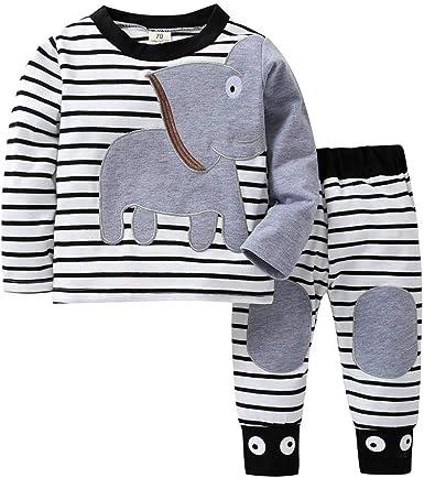 Conjuntos Bebe, ASHOP 0-24 Meses Niño Niña Otoño/Invierno Ropa Conjuntos, Camiseta con Estampado de Rayas Elefante + Pantalones: Amazon.es: Ropa y accesorios