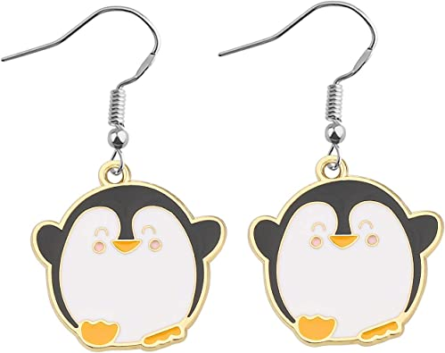 Amazon Com Feelmem Penguin Earrings Zipper Pull Cute Cartoon Dangle Earrings Animal Jewelry Penguin Gift For Penguin Lover And Women Girls Earrings Clothing