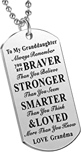 Nimteve Inspirational Necklace Stainless Steel Dog Tag Always Remember You are Braver to My Granddaughter Grandson Gifts from Grandma Grandpa
