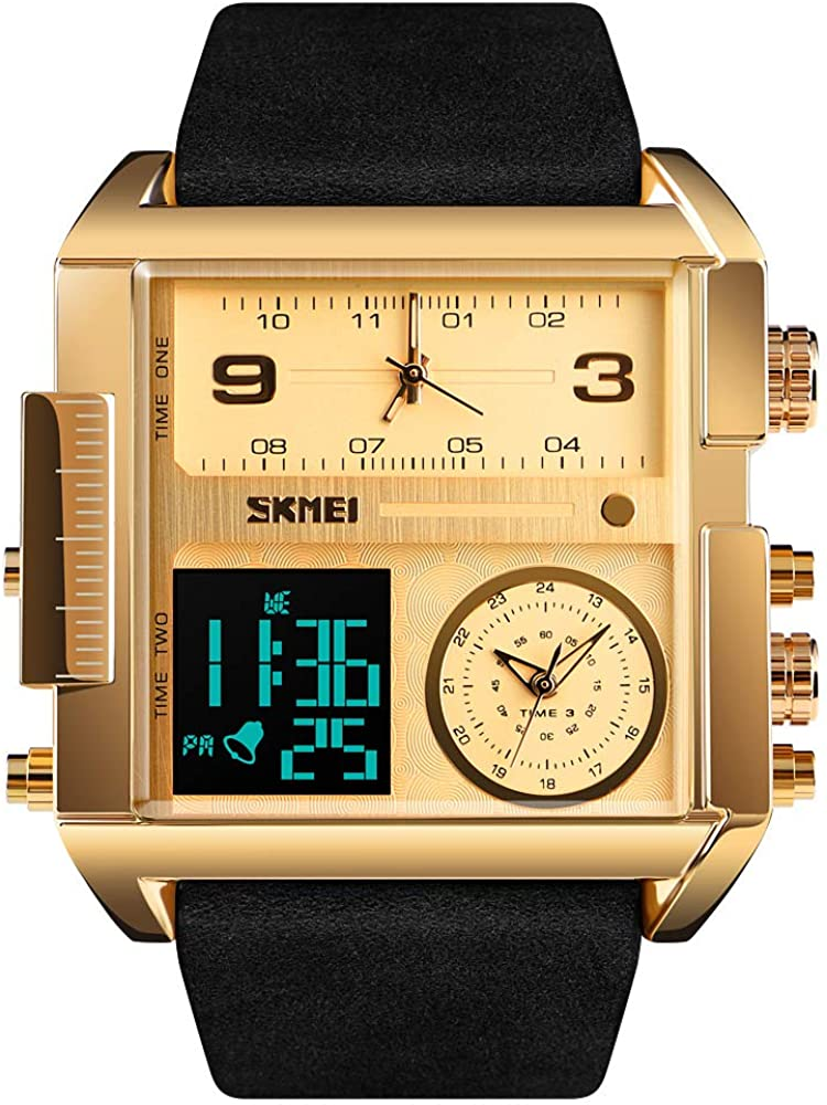 SKMEI Men s Digital Sports Watch, LED Square Large Face Analog Quartz Wrist Watch with Multi-Time Zone Waterproof Stopwatch