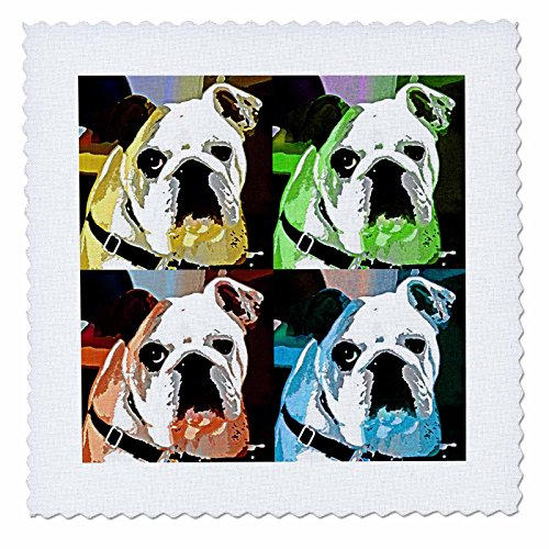 3dRose Spiritual Awakenings Animals - Clyde The Bull Dog Multi colored collage of a adorable bulldog we call Clyde - 10x10 inch quilt square (qs_52212_1) ()
