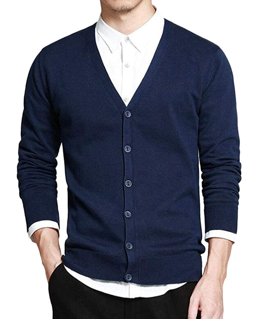 Unko Men Basic Slim Fit Sweater Casual V Neck Button Down Knitwear Cardigans